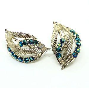 🆕Vintage Coro Blue-Green Rhinestone Earrings